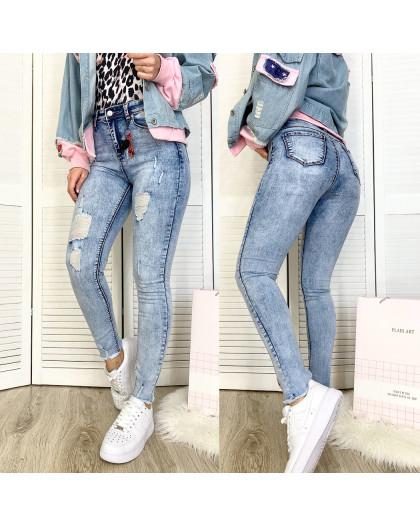 3578 New jeans американка голубая с царапками весенняя стрейчевая (25-30, 6 ед.) New Jeans
