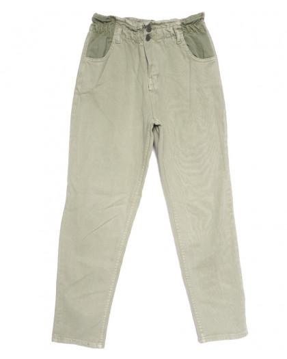 0760 джинсы женские на резинке хаки весенние коттоновые (34-40, 5 ед.) Джинсы