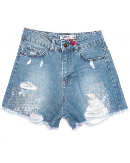 5001 Gecce шорты джинсовые женские с рванкой синие коттоновые (34-42,евро, 6 ед.) Gecce