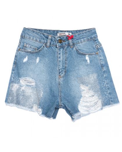 0741 Gecce шорты джинсовые женские с рванкой синие коттоновые (34-44,евро, 6 ед.) Gecce