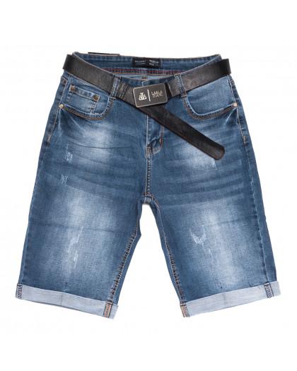 5560-6 Relucky шорты джинсовые женские полубатальные с царапками синие стрейчевые (28-33, 6 ед.) Relucky