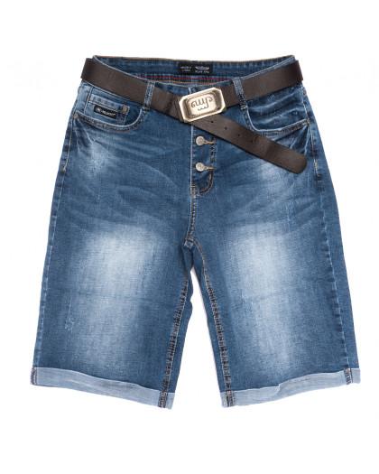 0121-6 Relucky шорты джинсовые женские батальные с царапками синие стрейчевые (31-38, 6 ед.) Relucky