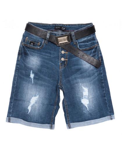 0120-6 Relucky шорты джинсовые женские с рванкой полубатальные с царапками синие стрейчевые (28-33, 6 ед.) Relucky
