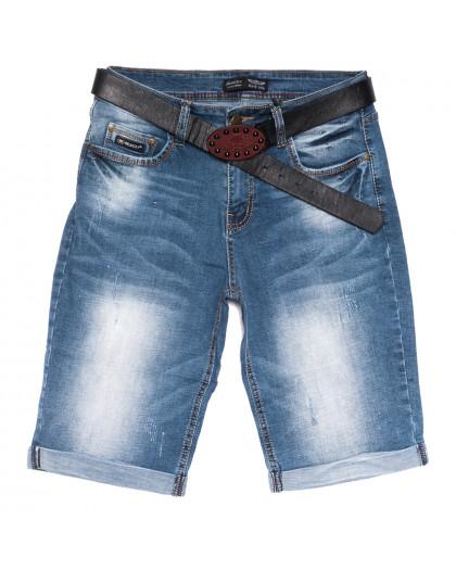 5561-6 Relucky шорты джинсовые женские полубатальные с царапками синие стрейчевые (28-33, 6 ед.) Relucky