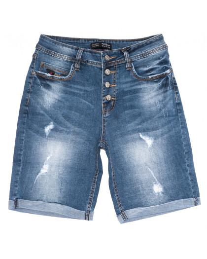 0117-6 Relucky шорты джинсовые женские полубатальные с рванкой синие стрейчевые (28-33, 6 ед.) Relucky