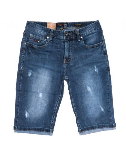 7701-5 Relucky шорты джинсовые мужские молодежные с царапками синие стрейчевые (27-34, 8 ед.) Relucky