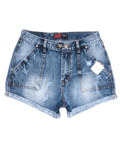 0052-15 Relucky шорты джинсовые женские с рванкой синие коттоновые (25-30, 6 ед.) Relucky