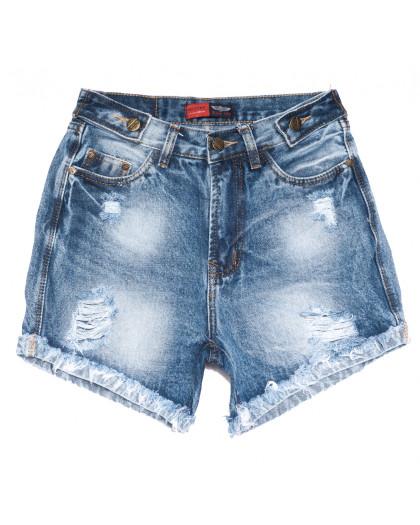 0054-15 Relucky шорты джинсовые женские с рванкой синие коттоновые (25-30, 6 ед.) Relucky