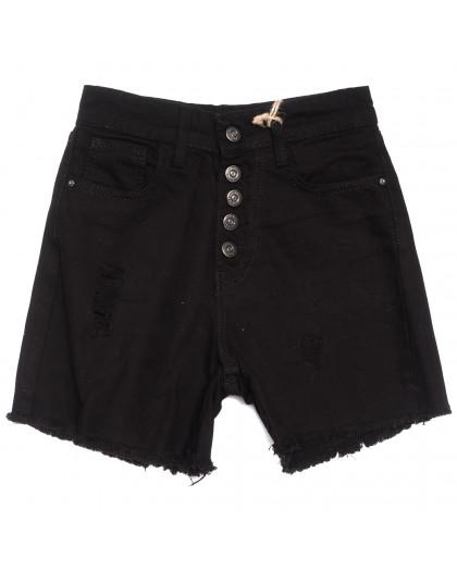 0209 Dobre шорты джинсовые женские на пуговицах черные коттоновые (34-42,евро, 5 ед.) Dobre