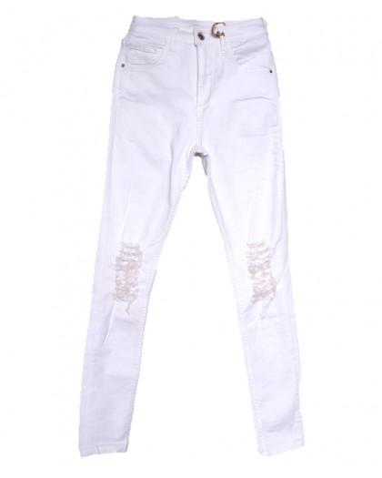 0214 Dobre джинсы женские с рванкой белые весенние стрейчевые (34-42,евро, 5 ед.) Dobre