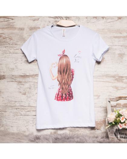 3206-3 белая Akkaya футболка с принтом стрейчевая (S-XL, 4 ед.) Akkaya