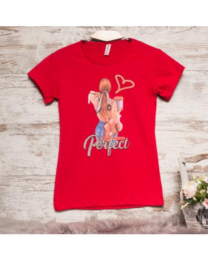 3202-5 красная Akkaya футболка женская с принтом стрейчевая (S-XL, 4 ед.) Akkaya