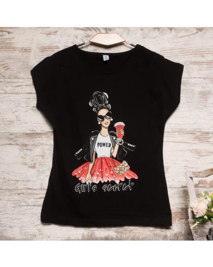 Черная женская футболка с принтом Carla Mara 3209-2 Carla Mara