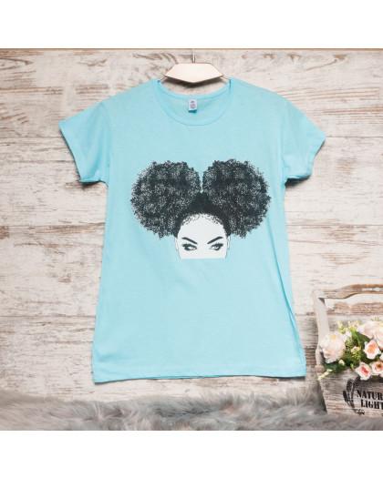 Голубая женская футболка с принтом Carla Mara 3207-2 Carla Mara