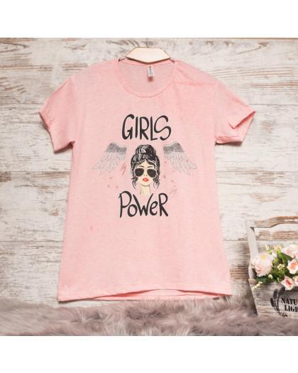 Пудровая женская футболка с принтом Akkaya 3200-3 Akkaya