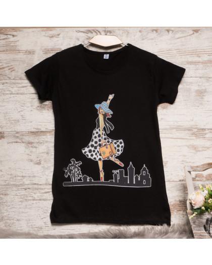 Черная женская футболка с принтом Carla Mara 3211-1 Carla Mara