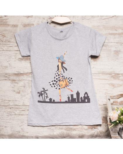 Серая женская футболка с принтом Carla Mara 3211-3 Carla Mara