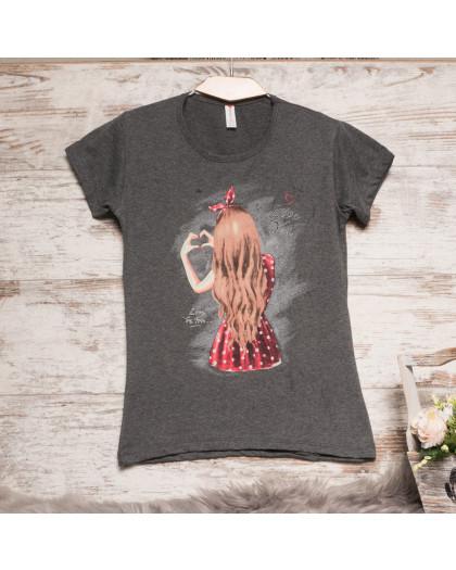 Темно-серая женская футболка с принтом Akkaya 3206-1 Akkaya