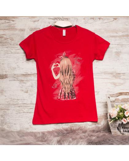 Красная женская футболка с принтом Akkaya 3206-4 Akkaya