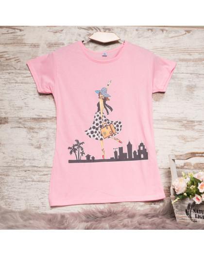 Розовая женская футболка с принтом Carla Mara 3211-5 Carla Mara