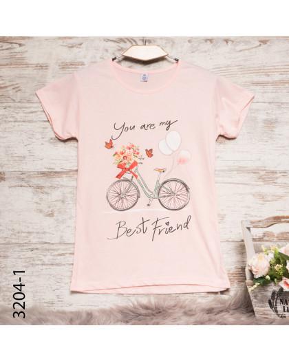 Женская пудровая футболка с принтом 3204-1 Carla Mara