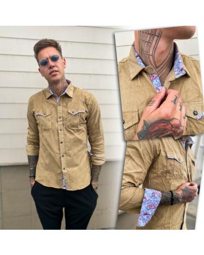 0409-03 YXC рубашка мужская вельветовая бежевая (M-XXL, 4 ед.) YXC