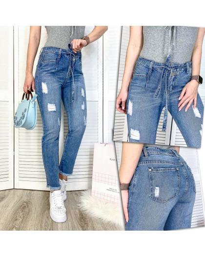 3592 New jeans мом синий с царапками демисезонный коттоновый (25-30, 6 ед.) New Jeans