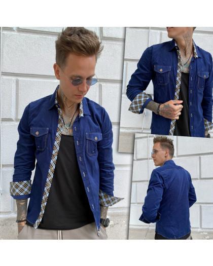 Вельветовая синяя мужская рубашка YXC 0406-4 YXC