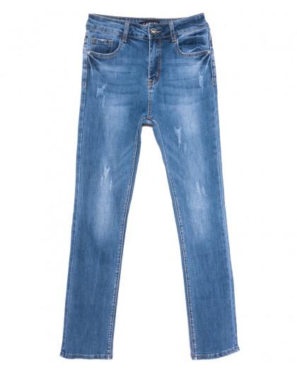 1573 Lady N джинсы женские полубатальные с царапками синие весенние стрейчевые (28-33, 6 ед.) Lady N