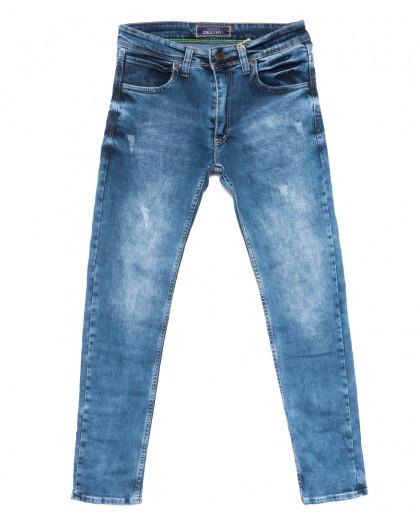 6890 Destry джинсы мужские полубатальные с царапками синие весенние стрейчевые (32-40, 8 ед.) Destry