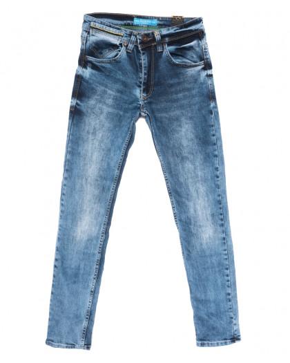 6790 Blue Nil джинсы мужские с царапками синие весенние стрейчевые (29-36, 8 ед.) Blue Nil