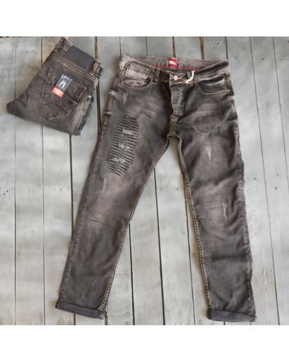 4207 Corcix джинсы мужские с рванкой серые весенние стрейчевые (29-36, 8 ед.) Corcix