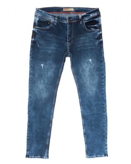 6891 Corcix джинсы мужские полубатальные c царапками синие весенние стрейчевые (32-40, 8 ед.) Corcix