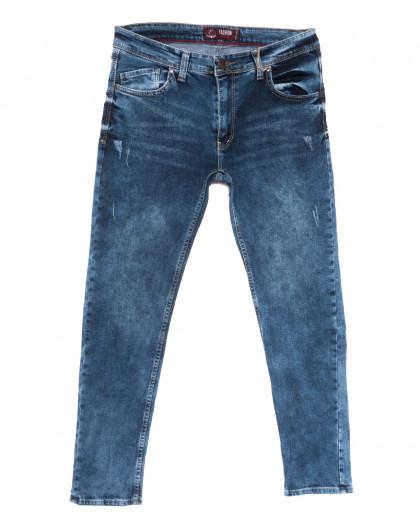 6892 Fashion red джинсы мужские полубатальные c царапками синие весенние стрейчевые (32-40, 8 ед.) Fashion Red