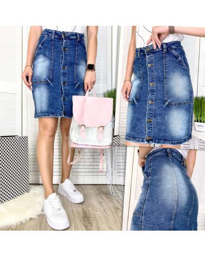 9913-1 V Relucky юбка джинсовая полубатальная синяя весенняя стрейчевая (28-33, 6 ед.)  Relucky