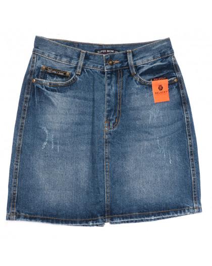 0449-1 V Relucky юбка джинсовая с царапками синяя осенняя коттоновая (25-30, 6 ед.) Relucky