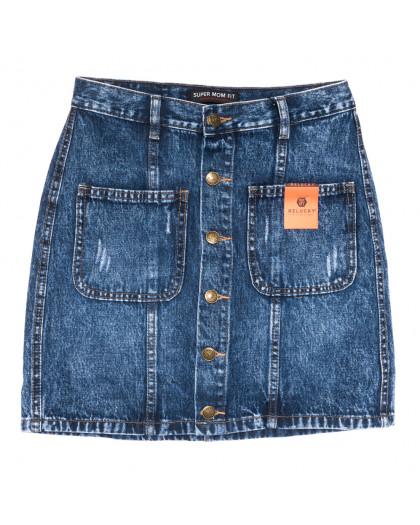 0445-1 V Relucky юбка джинсовая на пуговицах синяя осенняя коттоновая (25-30, 6 ед.) Relucky