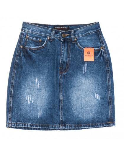 0448-1 V Relucky юбка джинсовая с царапками синяя осенняя коттоновая (25-30, 6 ед.) Relucky