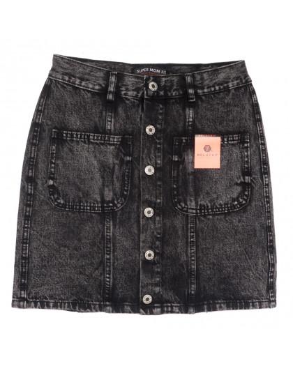 0045-1 V Relucky юбка джинсовая на пуговицах серая осенняя коттоновая (25-30, 6 ед.) Relucky