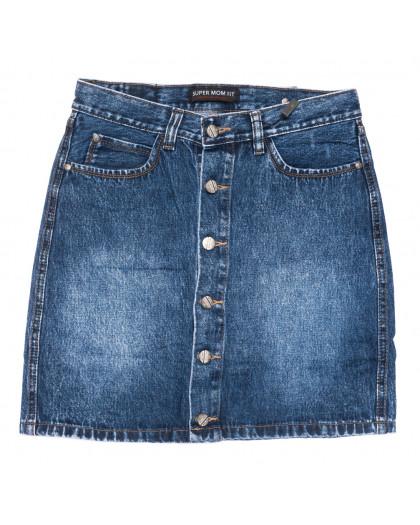 0443-1 V Relucky юбка джинсовая на пуговицах синяя осенняя коттоновая (25-30, 6 ед.) Relucky