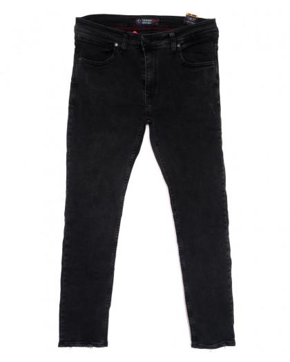 6945 Fashion Red джинсы мужские полубатальные с царапками серые весенние стрейчевые (32-40, 8 ед.) Redcode