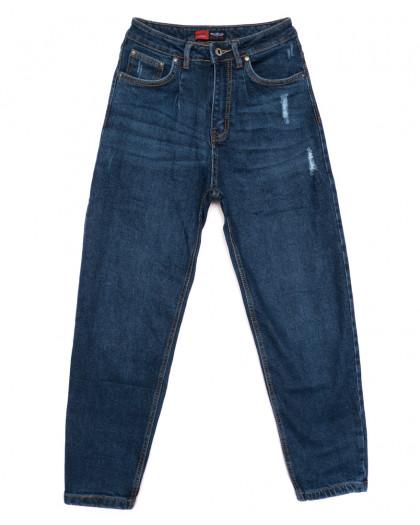 0062-3 М Relucky джинсы-баллон с царапками синие осенние стрейчевые (25-30, 6 ед.) Relucky