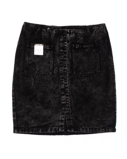 9914-5 V Relucky юбка джинсовая полубатальная на пуговицах темно-серая осенняя коттоновая (28-33, 6 ед.) Relucky