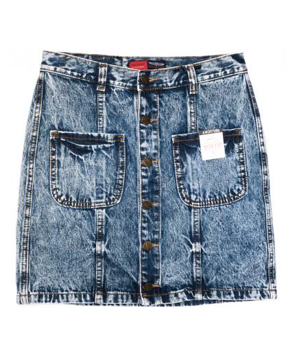 9903-5 V Relucky юбка джинсовая на пуговицах синяя осенняя коттоновая (25-30, 6 ед.) Relucky