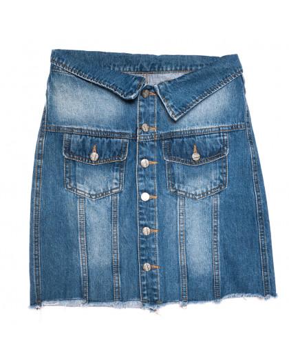 9900-5 V Relucky юбка джинсовая на пуговицах синяя осенняя коттоновая (25-30, 6 ед.) Relucky