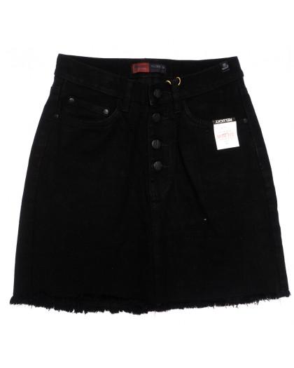 9916-5 V Relucky юбка джинсовая на пуговицах черная осенняя коттоновая (25-30, 6 ед.) Relucky