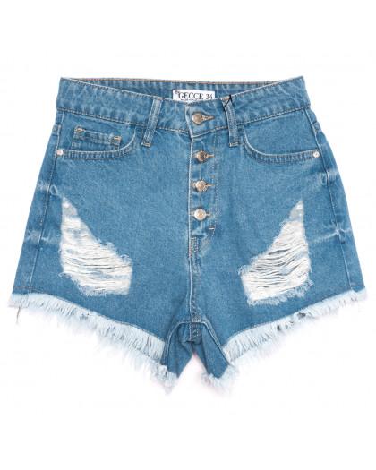 5864 Gecce шорты джинсовые женские с рванкой синие коттоновые (34-40,евро, 6 ед.) Gecce