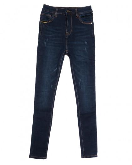 0590 New Jeans американка на флисе с царапками синяя зимняя стрейчевая (25-30, 6 ед.) New Jeans