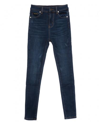 0586 New Jeans американка на флисе с царапками синяя зимняя стрейчевая (25-30, 6 ед.) New Jeans