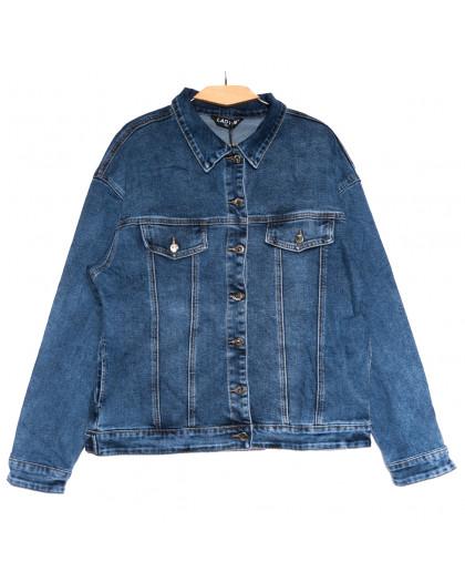 1629 Lady N куртка джинсовая женская синяя осенняя стрейчевая (3XL-7XL, 6 ед.) Lady N